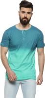 Campus Sutra Solid Men Henley Neck Light Blue T-Shirt