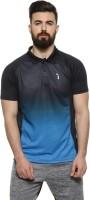 Campus Sutra Ombre Men Polo Neck Blue T-Shirt