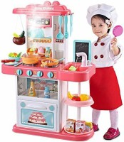 SKEDIZ Kids 42-Piece Kitchen Playset, with Realistic Lights & Sounds,Simulation of Spray, Play Sink with Running Water,Dessert Shelf Toy & Kitchen Accessories Set for 4 Year Old Girls