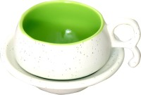 Bobby Designs Pack of 12 Ceramic White & Green Tea/Coffee Cup Saucers Set of Six (White Chirag)(White, Green)