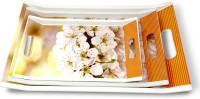 U.P.C. White Flower print Melamine Dinner & Breakfast Serving Tray, Set of 3 Villori Series Tray(3 Tray)