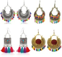 PRASUB PRASUB brings you Combo pack of 4 pair Designer Golden and Silver Mirror earrings for girls and women German Silver, Nickel Chandbali Earring, Jhumki Earring