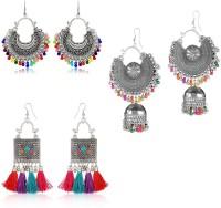 PRASUB PRASUB brings you Combo pack of 3 pair Trendy Silver multicolor desgner earrings for girls and women Silver Chandbali Earring, Jhumki Earring