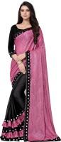 KJPVILLA Woven, Embellished, Plain Fashion Lycra Blend Saree(Pink)