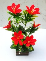 Litleo Great For Home Or Office Decoration or birthday Gift Red Lily Artificial Flower  with Pot(8 inch, Pack of 1)