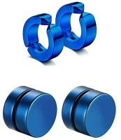 Heer Collection Mens & Women Jewellery Combo of 1 Pair each Blue Color Magnet & Non Pierced Earings Valentine Multi Stud Bali Hoop earrings for Men/Boys/Girls/Women/Unisex (1 Pair Each) Pierced Bali Ear ring, Brass Earring Set, Clip-on Earring, Plug Earring, Hoop Earring, Stainless Steel Stud Earrin