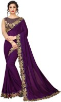 xenilla Embroidered, Solid Bollywood Silk Blend Saree(Purple)