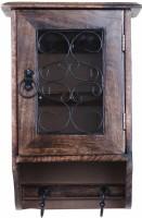 ADA Handicraft Wall Hanging Inlay Keys Hanger Key Holder Brown Mango Wood Hand Crafted Cabinet Stand Box-Hook Design Wood Key Holder(8 Hooks, Brown)