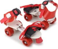 CADDLE & TOES Skates Shoes For Kids / Childrens - UNISEX In-line Skates Quad Roller In-line Skates (adjustable size) Quad Roller Skates - Size 5 UK(Red)