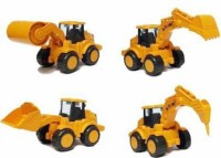 Zooper Construction Vehicles set toys for Kids (Pack of: 4)(Yellow, Pack of: 4)