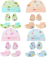 Honey Boo Supersoft cotton Booty, Mitten and Cap combo for new born baby boy and baby girl(Multicolor)