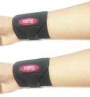 dx mart 2X Adjustable Strap Wristband Sports Wrist Brace Wrap Bandage Guard Support Gym Wrist Support(Black)