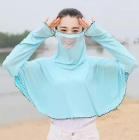 1Pack Green Summer Outdoor Ice Silk Face Mask Sunscreen Clothing Ladies Ultra-Thin Quick-Drying