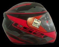 LS2 FF352 Rookie Recruit Gloss Black Red Mercury Visor Full Face Helmet Motorbike Helmet(Black, Red)