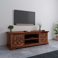 FURINNO Solid Wood TV Entertainment Unit(Finish Color - Natural Brown Finish, Pre-assembled)