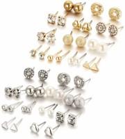 Shining Diva 24 pairs Combo Set Latest Stylish Crystal Pearl Stud Earrings Pearl Metal Stud Earring