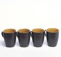 Designo prints Plain brown & coffee colour cup set Ceramic Coffee Mug(325 ml, Pack of 4)