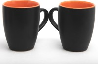 Designo prints Plain black & red cup set Ceramic Coffee Mug(325 ml, Pack of 2)
