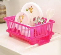 Floraware 3 in 1 Large Sink Set Dish Rack Drainer with Tray for Kitchen,Dish Rack Organizers, Pink Dish Drainer Kitchen Rack(Plastic)