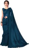 Sariya Solid Fashion Lycra Blend Saree(Blue)