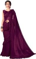 Sariya Solid Fashion Lycra Blend Saree(Purple)