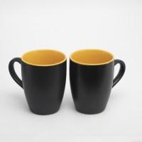 Designo prints Plain black & yellow colour cup set (large) Ceramic Coffee Mug(325 ml, Pack of 2)