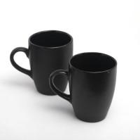 Designo prints Plain black colour cup set (large) Ceramic Coffee Mug(325 ml, Pack of 2)