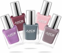 Juice Nail Paint Combo 20 Periwinkle Blue, Dusty Coral, Thunder Sky, Icy Pink, Teddy Brown