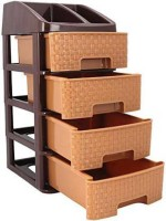 Tupperkart Plastic Free Standing Chest of Drawers(Finish Color - Caramel Brown)