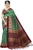 Fabwomen Digital Print Bhagalpuri Art Silk Saree(Green)