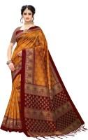 Fabwomen Printed Mysore Art Silk Saree(Mustard)