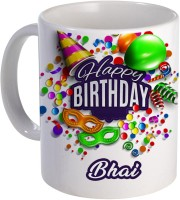 COLOR YARD best happy birthday Bhai with birthday gift design on Ceramic Mug(320 ml)