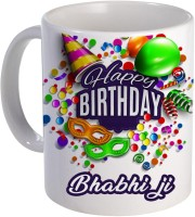 COLOR YARD best happy birthday Bhabi ji with birthday gift design on Ceramic Mug(320 ml)