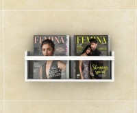 Lycka Basic Magazine and Newspaper Shelf cum Rack White Finish | Wide Wooden Wall Shelf(Number of Shelves - 1, White)