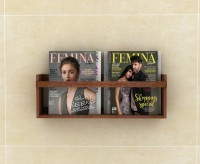Lycka Basic Magazine and Newspaper Shelf cum Rack Brown Wood Stain Finish | Wide Wooden Wall Shelf(Number of Shelves - 1, Brown)