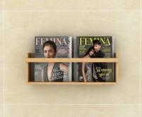 Lycka Basic Magazine and Newspaper Shelf cum Rack Natural Wood Finish | Wide Wooden Wall Shelf(Number of Shelves - 1, Beige)
