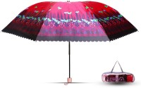 Aseenaa Printed Fancy & Stylish UV Umbrella for Wind, Sunlight & Rain for Women & Men with Attractive Cover - Red Colour Umbrella(Red)