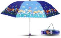 Aseenaa Printed Fancy & Stylish UV Umbrella for Wind, Sunlight & Rain for Women & Men with Attractive Cover - Blue Colour Umbrella(Blue)