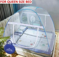 Lifekrafts Polyester Adults Bed Mosquito Net ( Double Size Queen Bed) ,Foldabe, Standalone Mosquito Mesh, With Zippers Mosquito Net(White and Blue Border)