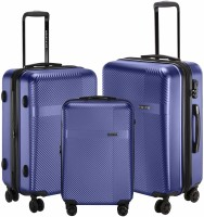 NASHER MILES Hard-Side Polycarbonate Luggage Set of 3 Steel Blue Trolley Bag Bags (55, 65 & 75 Cm) Expandable  Check-in Luggage - 28 inch