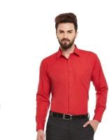 JMDE Men Solid Formal Red Shirt
