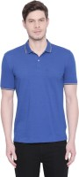 Byford by Pantaloons Solid Men Polo Neck Blue T-Shirt