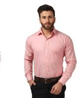 JMDE Men Solid Formal Pink Shirt