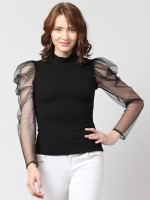 Arbiter Collection Casual Full Sleeve Solid Women Black Top