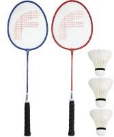 Feroc Fighter Aluminum Badminton Racket Set of 2 with- 3 Pieces Feather SHUTTLES Badminton Kit