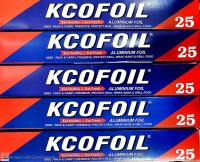 Kcofoil 25N Aluminium Silver Kitchen Foil Roll Paper Pack of 5, 11 Micron Thick, Food wrap, Bacteria Resistant, Disposable, Food Parcel, Hookah, Fresh Food Aluminium Foil(Pack of 5, 90 m)