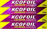 Kcofoil KCO FOIL 18m Aluminium Silver Kitchen Foil Roll Paper Pack of 4, 11 Micron Thick, Food wrap, Bacteria Resistant, Disposable, Food Parcel, Hookah, Fresh Food Aluminium Foil(Pack of 4, 72 m)