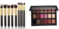 Beauzy Professional Nude Eyeshadow Makeup Palette With Black & Golden Makeup Brush Kit Set of 10 (2 Items in the set)(11 Items in the set)