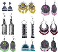 Alysa Combo of Multicolor Premium Enamel Silver, Alloy Earring Set