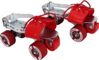 Strauss Senior Quad Roller Skates - Size Adjustable UK(Red, Silver)